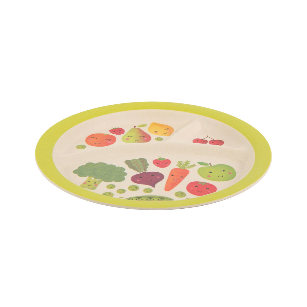 Happy Fruit and Veg Bamboo Kid's Plate