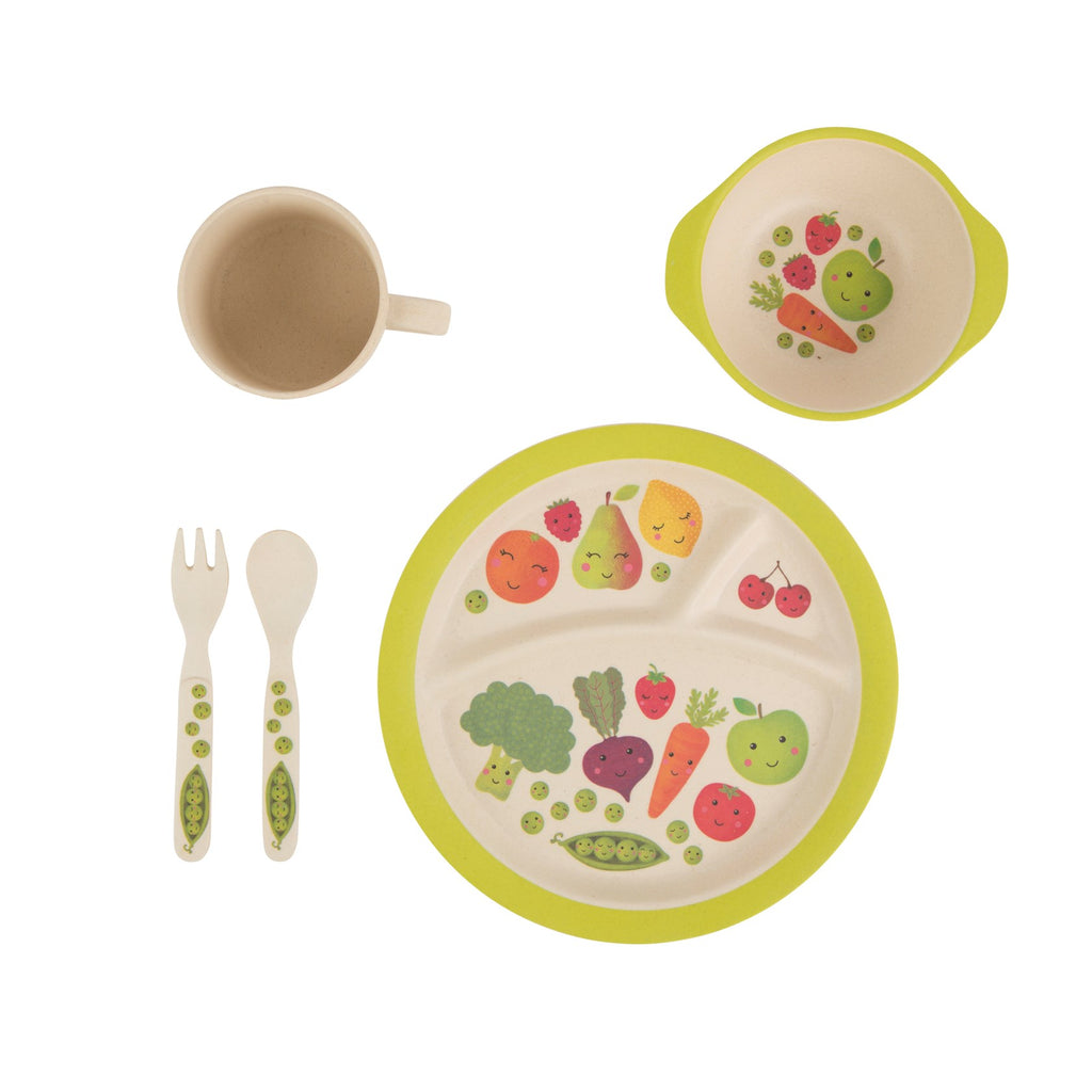 Happy Fruit and Veg Bamboo Kid's Fork and Spoon Set