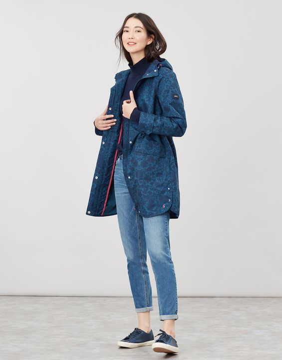 Joules Barrowden Print Waterproof Long Coat