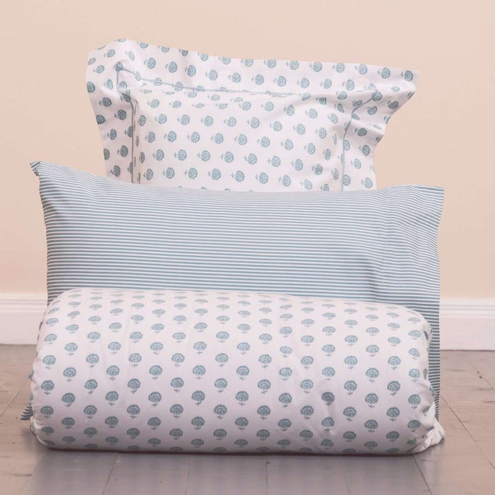 Aqua Woodcut Duvet Cover