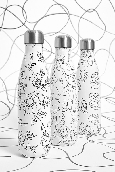 Chillys 500ml Water Bottle - Line Art Leaves