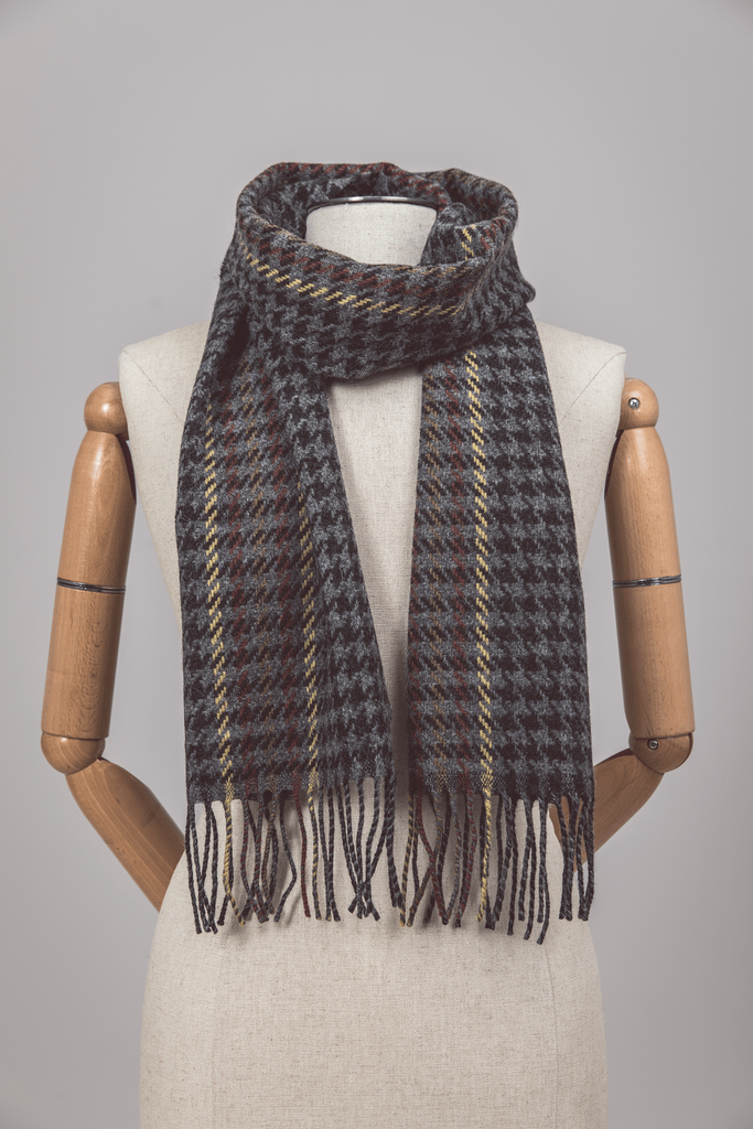 Deep Grey Houndstooth Scarf