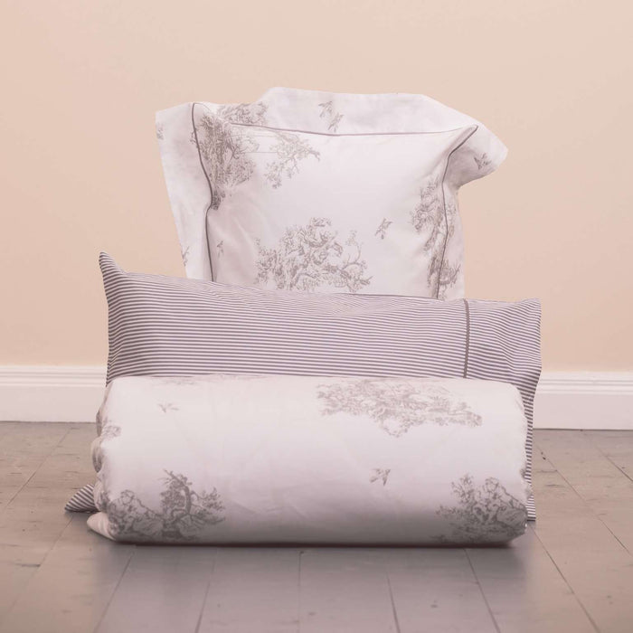 Product shot of Foxford's Silver Toile Duvet Set. Made from 100% Portuguese Cotton. By Foxford Woollen Mill