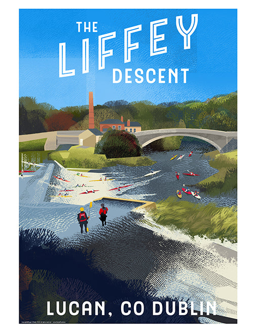 Roger O'Reilly The Liffey Descent at Lucan - Framed Poster
