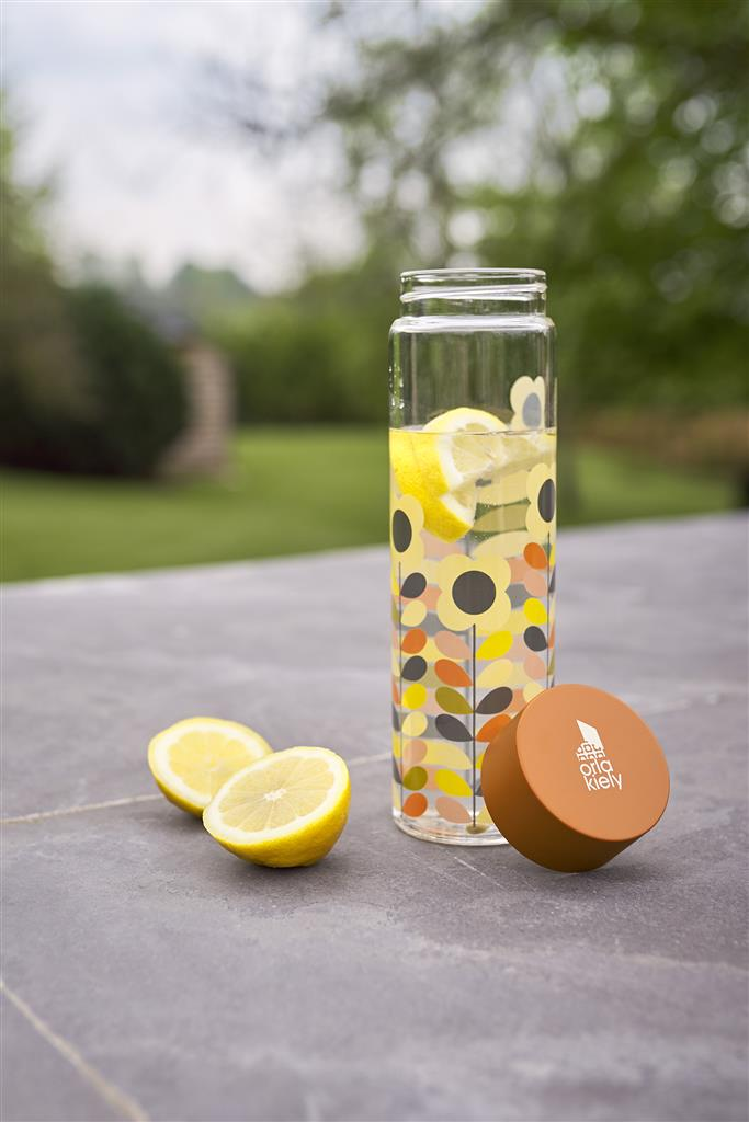 Glass Water Bottle - Multi Stem Daisy