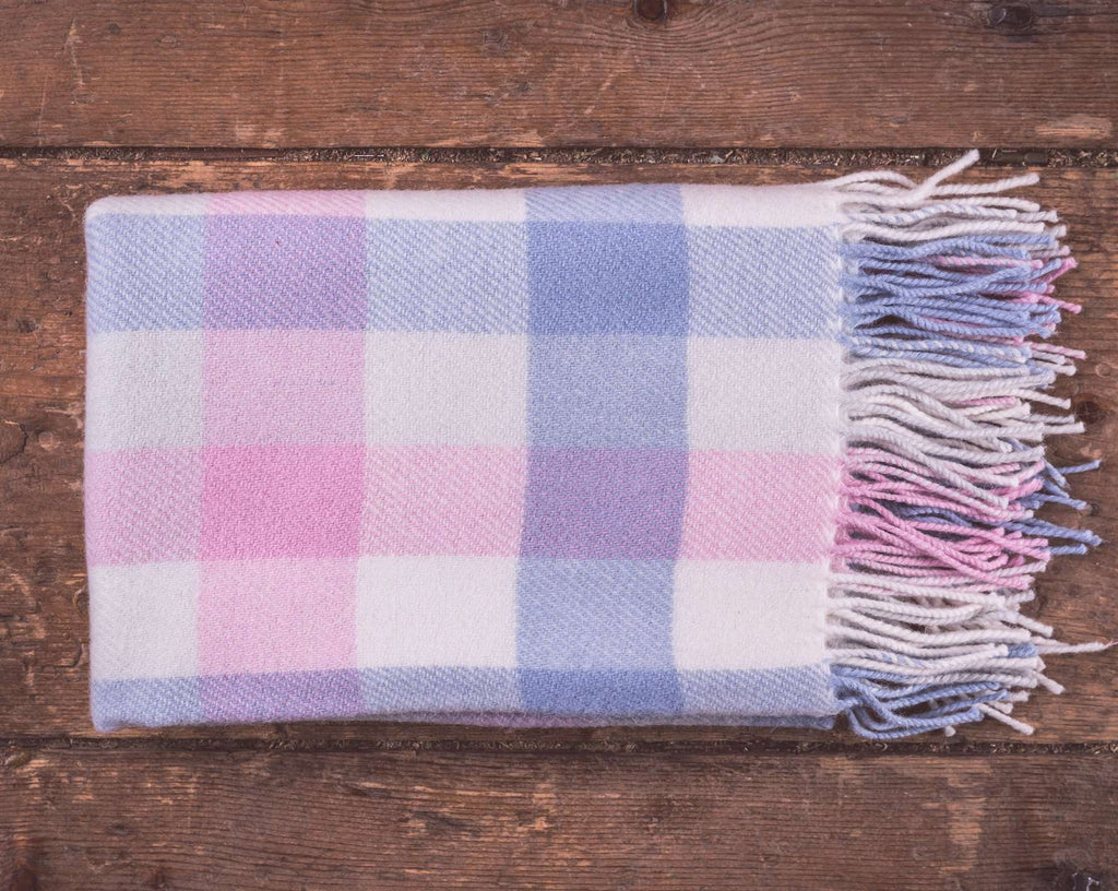 Pink & Blue Check Baby Blanket
