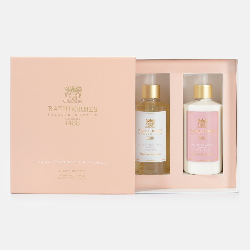 Rathbornes Dublin Tea Rose, Oud and Patchouli Luxury Wash and Lotion - Gift Set