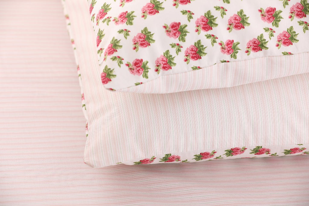 Pink & Green Vintage Stripe Fitted Sheet