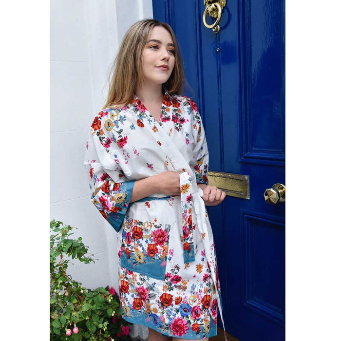 Ladies White Poppy Print Short Cotton Dressing Gown