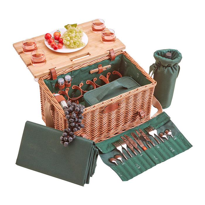 Saint-Honoré Green Picnic Basket for 4 People
