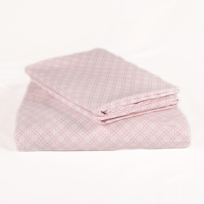 French Cane Pink Fitted Sheet