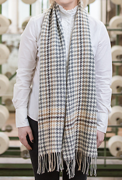 Woman wearing Foxford's Large Brown and Gold Check Scarf