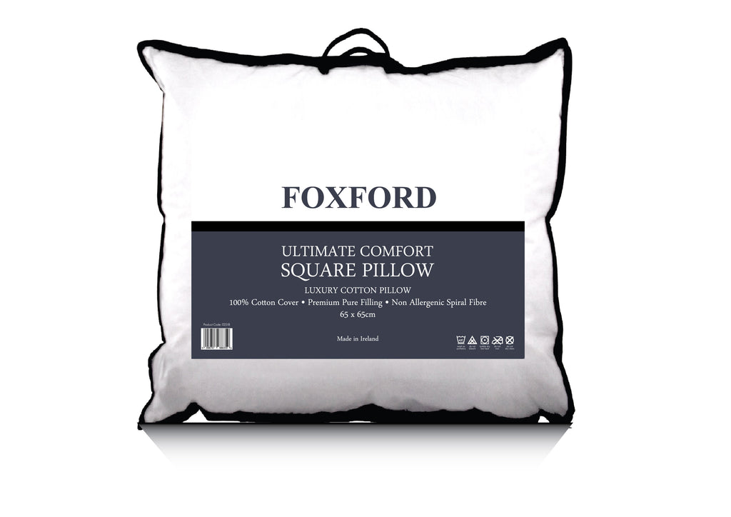 Bone 3 Row Embroidered Egyptian Cotton Square Oxford Pillowcase - Single