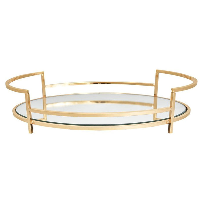 GreenGate Tray With Mirror Small - Gold