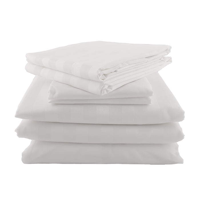 The Luxury Bundle - Sateen Stripe in White
