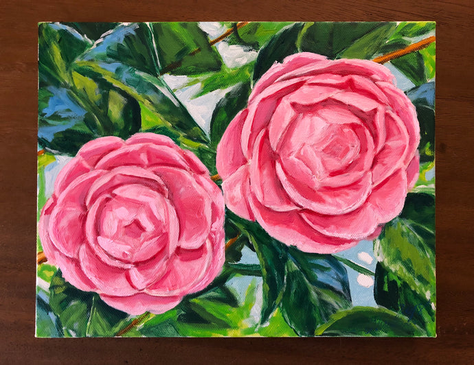 Twin Pink Camellias