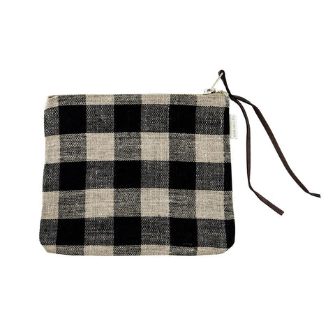 Small Black-and-Natural-Check Canna Pouch