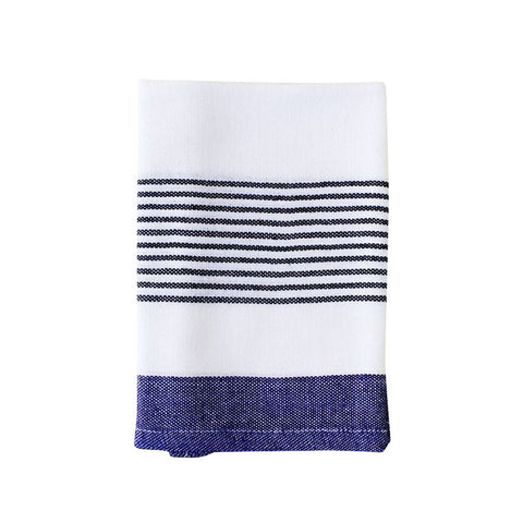 Dark Blue Block-Stripe Kitchen Towel