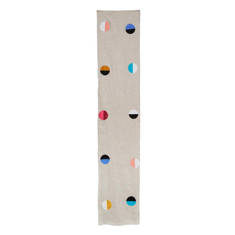 Natural Linen Multicolor Moons Runner