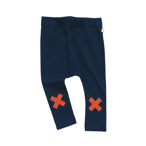 Navy and Orange Logo Pants