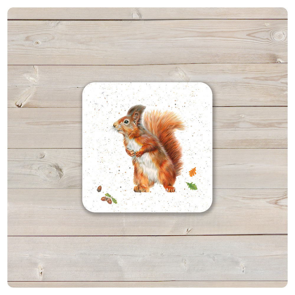 'Woodland Collection' Coaster - 'Little Red' Squirrel - Harebell Designs