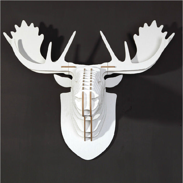 3D Wooden Moose Head (8 colors available)