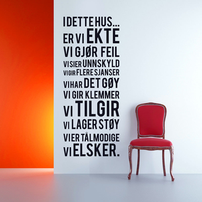 "Norsk Vinyl Wall Sticker Decal, "" I DETTE HUS..."" (many colors!)"