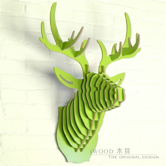 3D wood deer trophy head (8 colors available)