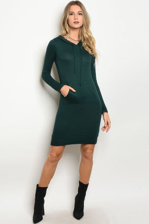 Green Hoodie Dress - HOTSUGARBOUTIQUE