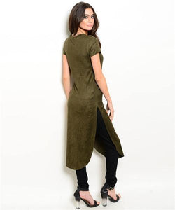 Olive Suede Tunic - HOTSUGARBOUTIQUE