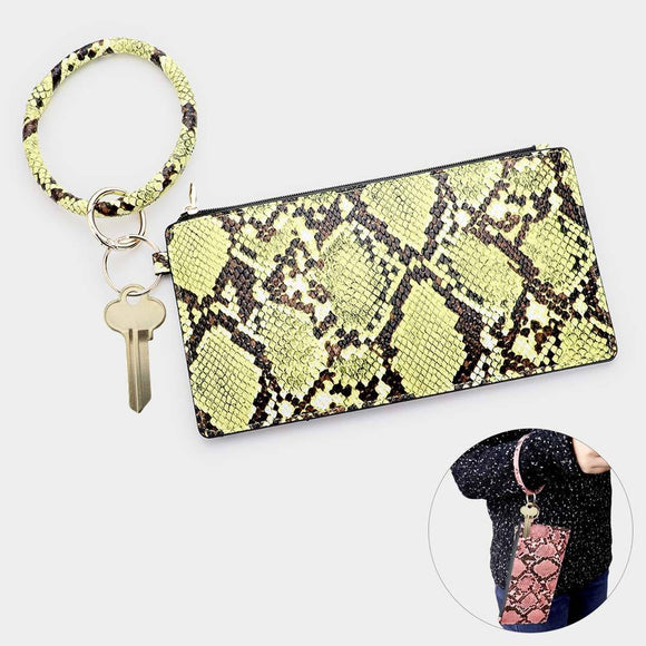 Snake Skin Faux Leahter Key Chain and Wallet
