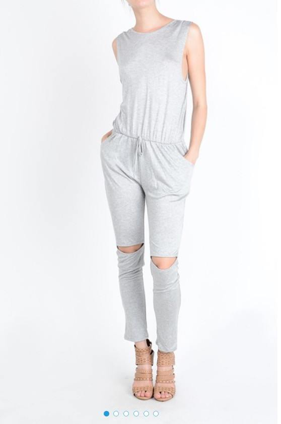 Gray Drawstring Jumpsuit - HOTSUGARBOUTIQUE