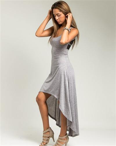 Gray Mesh Back Hi-Low Maxi Dress - HOTSUGARBOUTIQUE