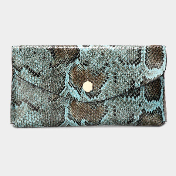 Teal Python Clutch - HOT SUGAR BOUTIQUE