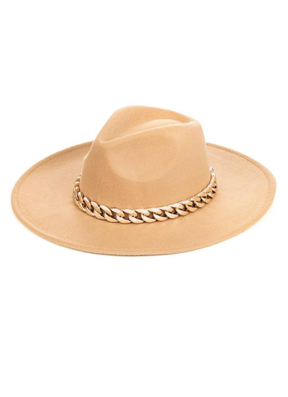 Chain Luxe Hat- Tan - HOT SUGAR BOUTIQUE