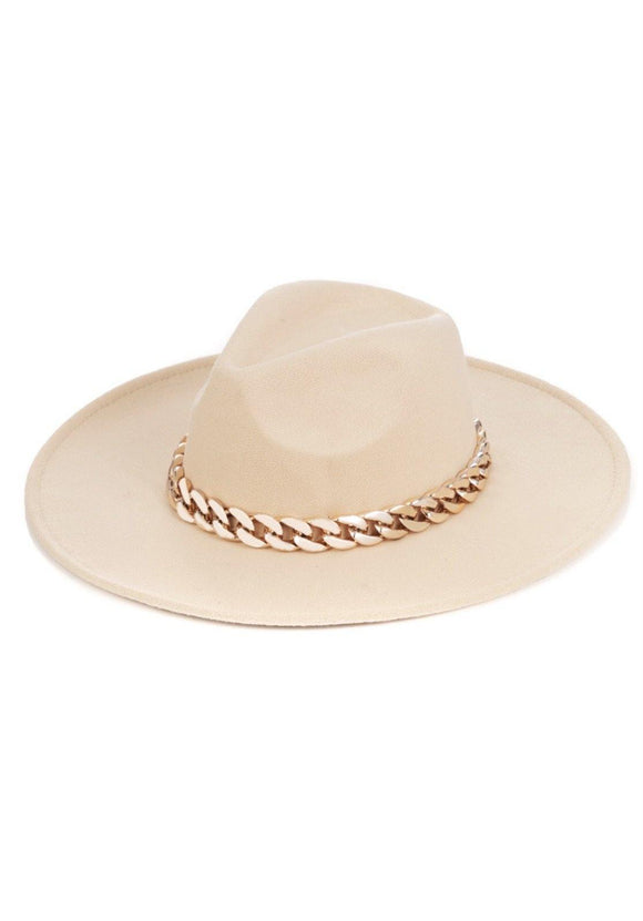 Chain Luxe Hat- Beige - HOT SUGAR BOUTIQUE