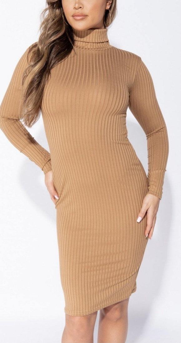 Basics Caramel Midi Dress - HOT SUGAR BOUTIQUE