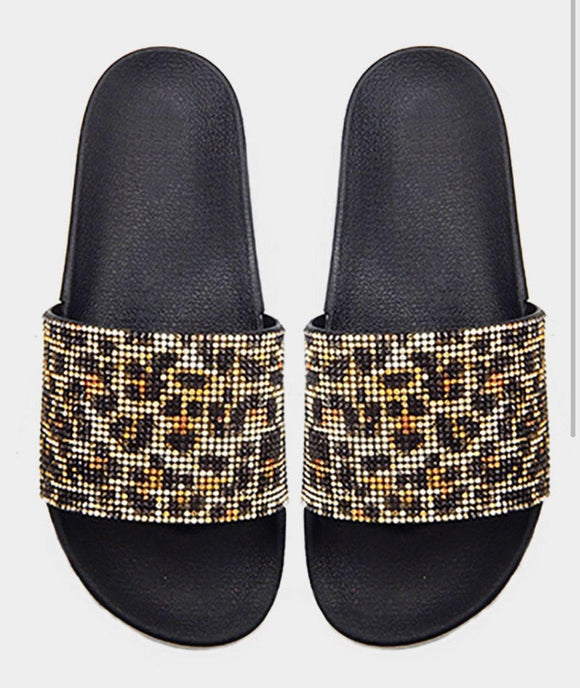 Leopard Crystal Slides - HOT SUGAR BOUTIQUE