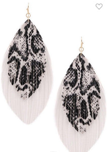 Snake Print Feather Earrings