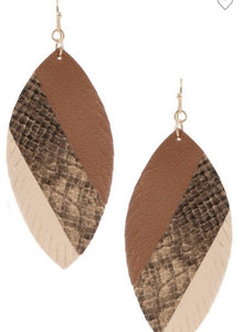 Contrast Snake Print Earrings