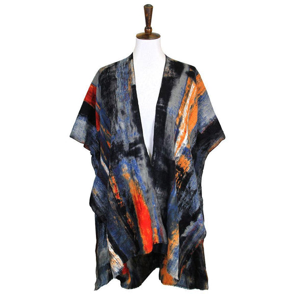 Brush Stroke Poncho - HOT SUGAR BOUTIQUE