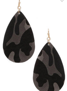 Camo Drop Earrings- Gray