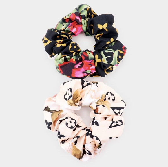 Floral Glam Scrunchies Cream/Black Set - HOT SUGAR BOUTIQUE