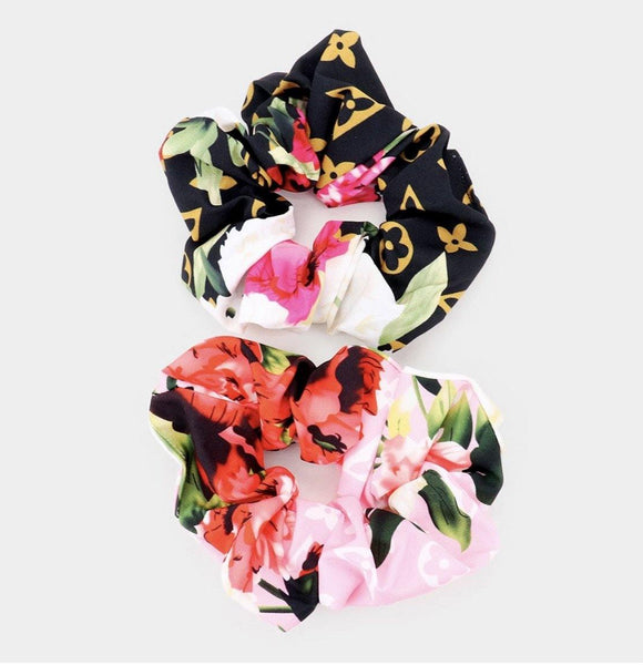 Floral Glam Scrunchies Black/Pink Set - HOT SUGAR BOUTIQUE