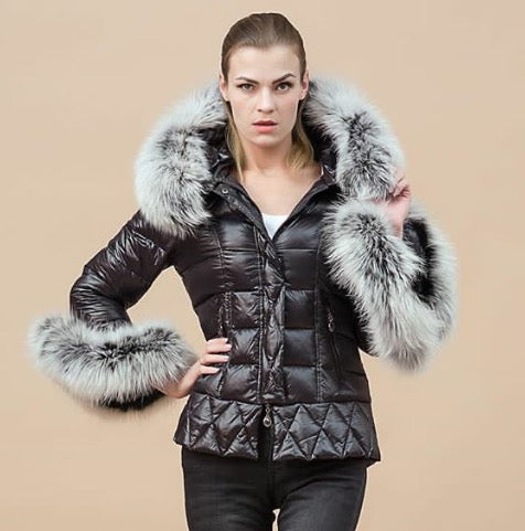 The Grandeur Duck Down Coat with Natural Grey Fur