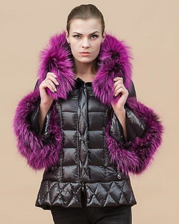 The Grandeur Down Coat with Purple Fur