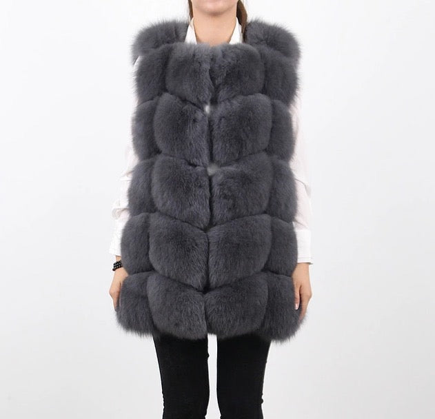 LUXE SMOKEY Grey Fur Gilet