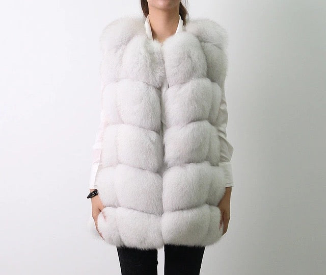 LUXE Pure White Fur Gilet