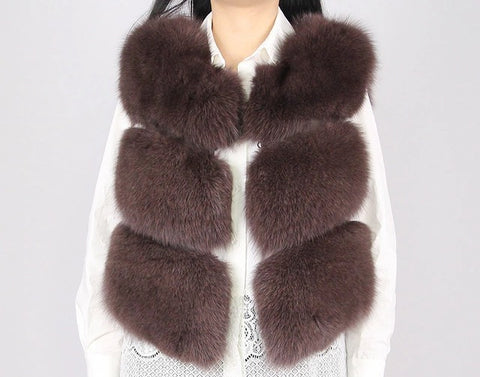 LAVISH Brown Pink Fur Gilet