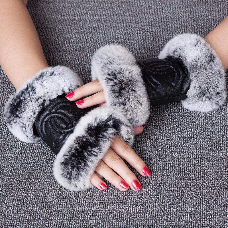 Leather Cece Fingerless Gloves